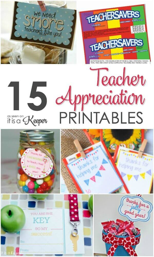 15 Adorable teacher appreciation gifts ideas and printables that are perfect for the end of the school year or teacher appreciation week