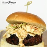 Asian Burger with Thai Chili Sauce recipe - this grilled burger is topped with a Thai chili sauce and Asian slaw