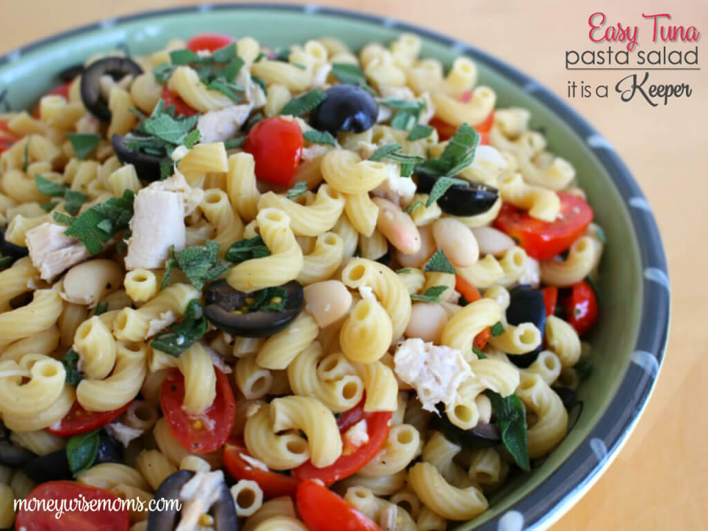 Tuna Pasta Salad - This mayo free pasta salad with tuna is a healthy quick and easy recipe