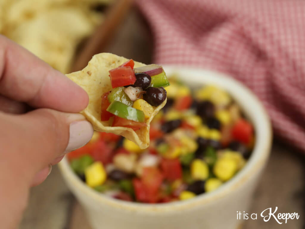 Cowboy Salsa on a corn chip