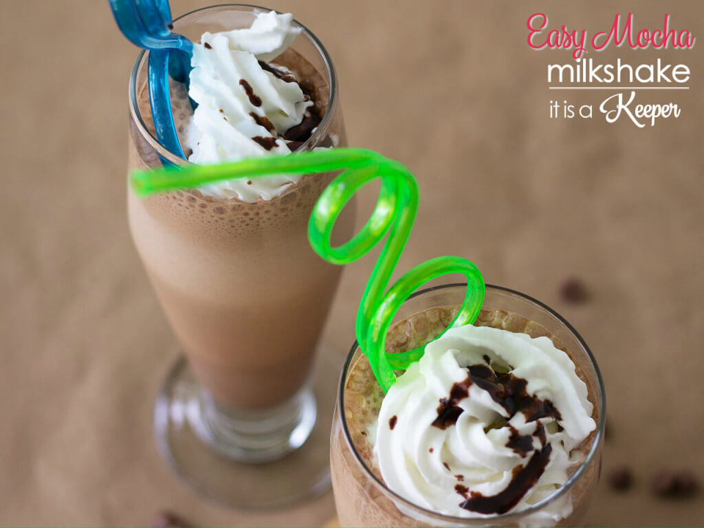 Mocha Milkshake in a glass cup with whipped cream and curly straw