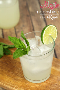 Mojito Moonshine - this homemade moonshine cocktail has all of the lime and mint flavors of a Mojito