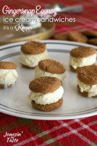 Gingersnap Eggnog Ice Cream Sandwiches - this easy frozen treat recipe is perfect for Christmas