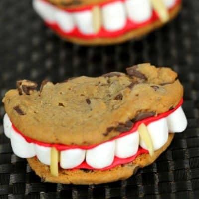 Vampire Halloween Cookies on a black mat