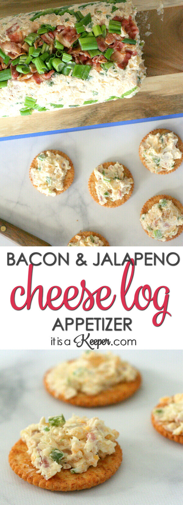 Bacon Jalapeno Cheese Log - this easy appetizer recipe is perfect for a party