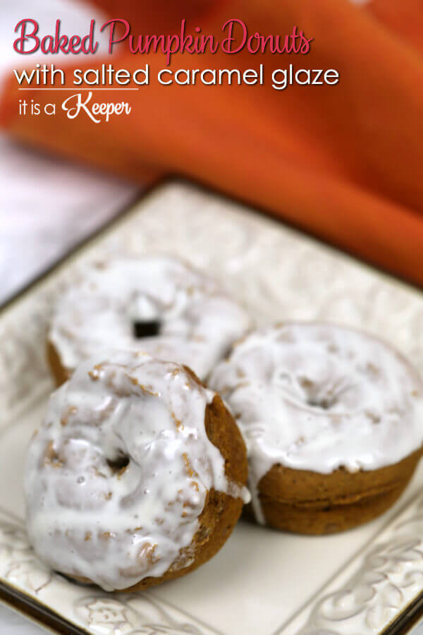 Baked Pumpkin Donuts with Salted Caramel Glaze on a White Plate.