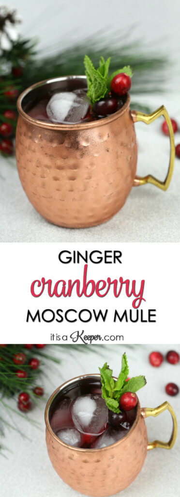 Holiday Mule Cocktail - this festive Moscow Mule has a cranberry twist and is one of my favorite simple cocktail recipes