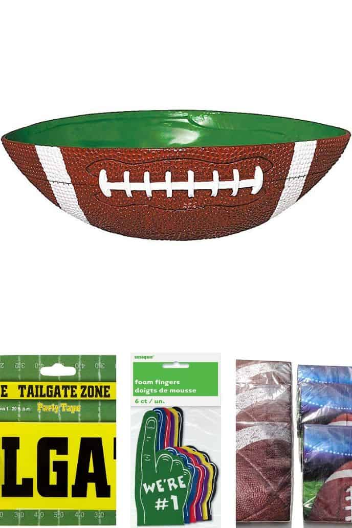 collage of 4 images of football party ideas listed below