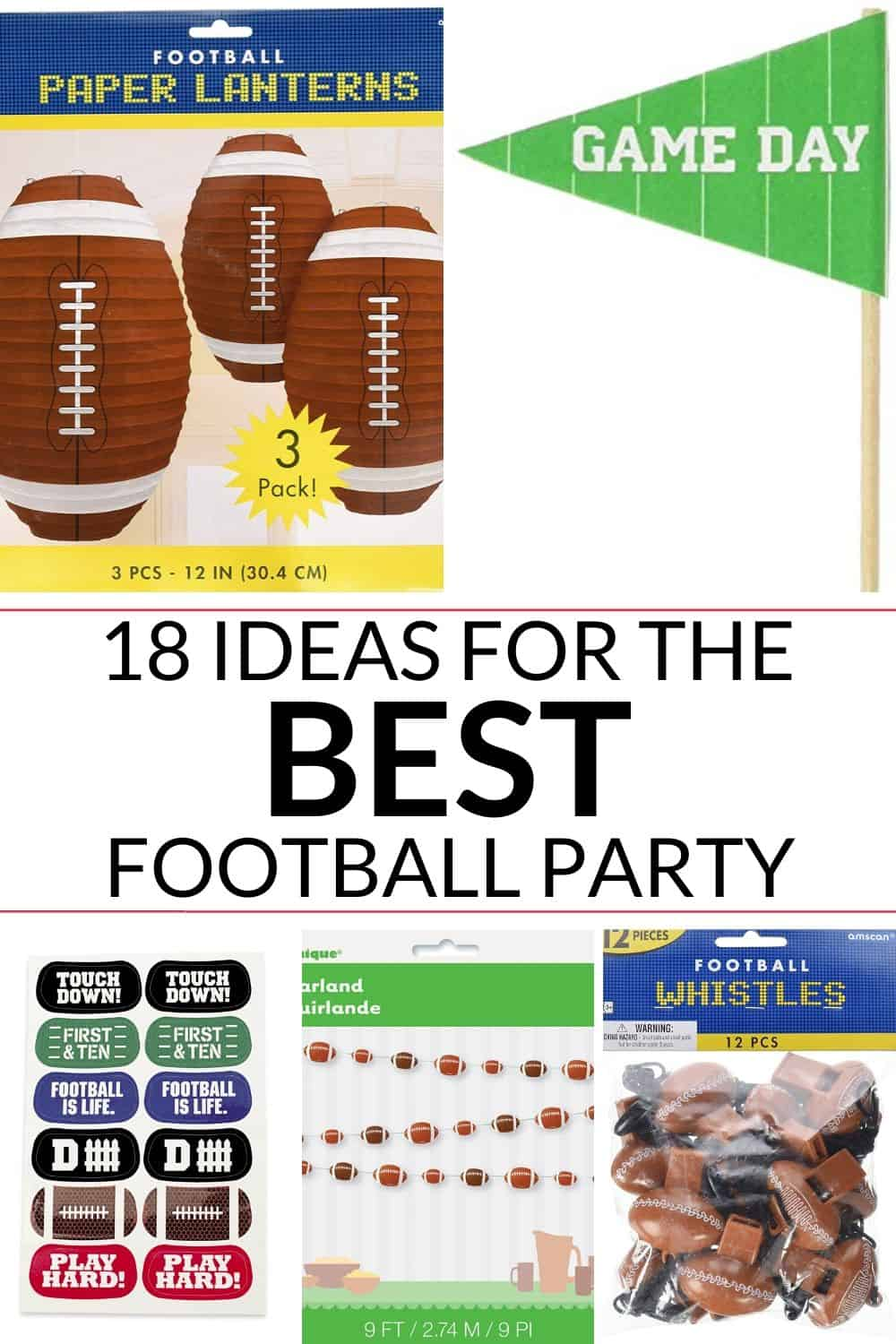 football party ideas listed in the post with the title of the post in the center