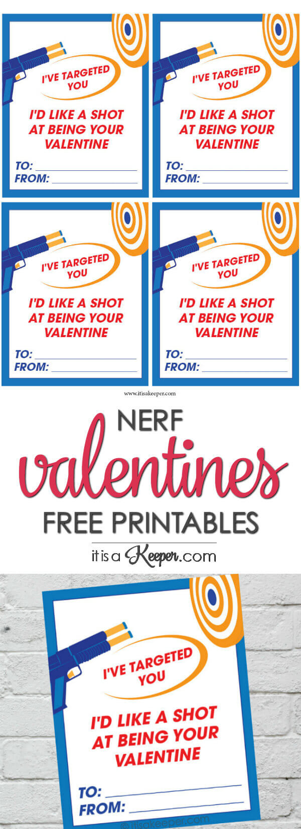 photo about Nerf Logo Printable titled Nerf Valentine Playing cards Printable It Is a Keeper