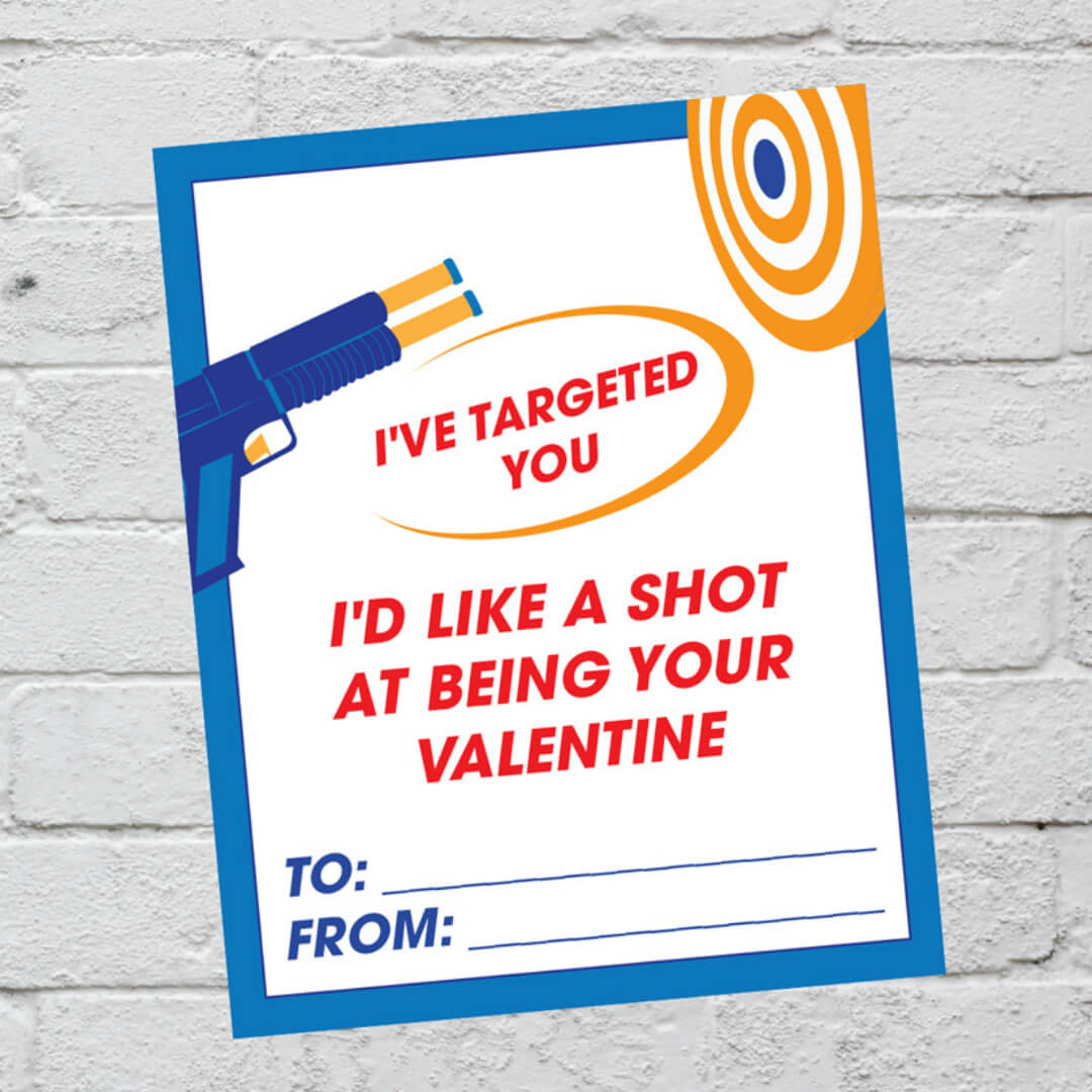 Nerf Valentine Printables - free printable Nerf themed Valentines for you to print and share