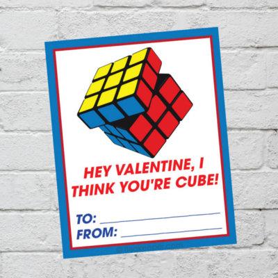 Rubik's Cube Valentine Cards Printable