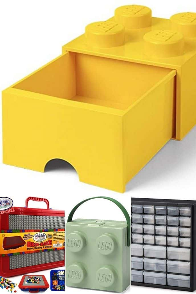 4 pictures of different options for great LEGO storage boxes.