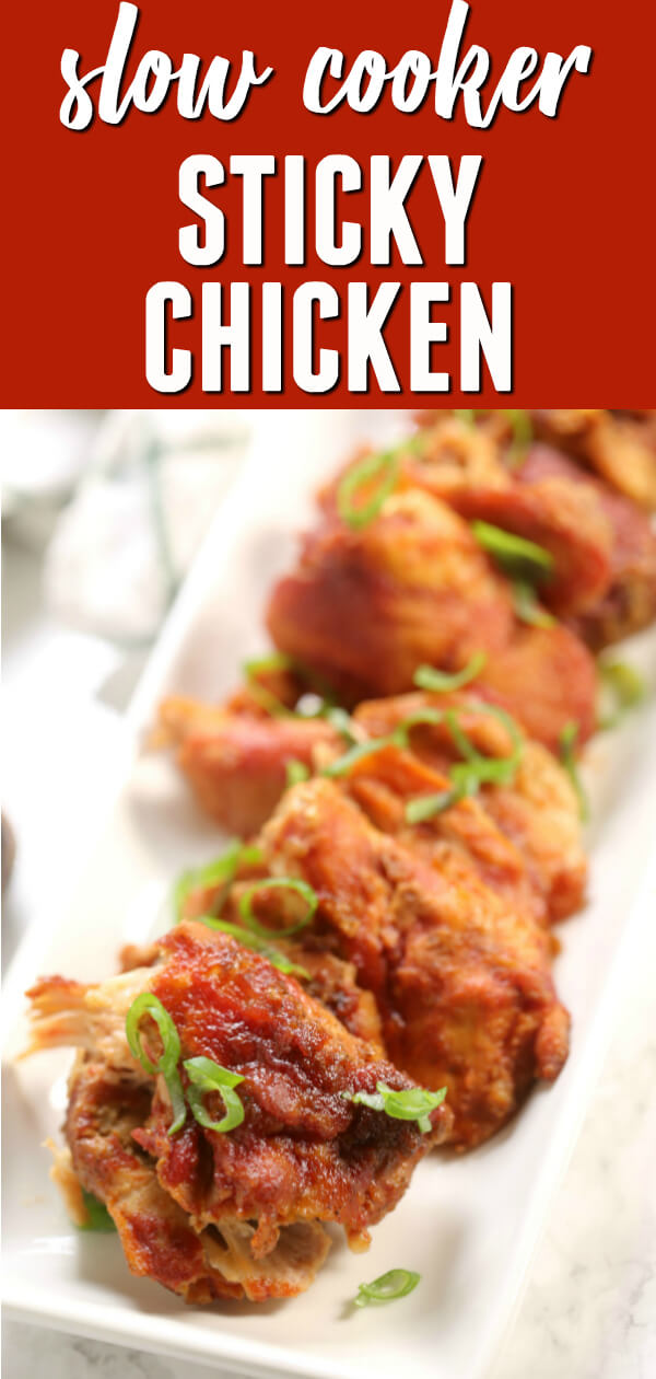 This Crock Pot Sticky Chicken is sweet, tangy and sticky.  This to the be absolute BEST sticky chicken recipe and super easy to make!  It's perfect for chicken breast or chicken thighs.  #itisakeeper #recipe #easy #crockpot #slowcooker #chicken #chickenthighs #chickenbreast #bestrecipe #easydinner