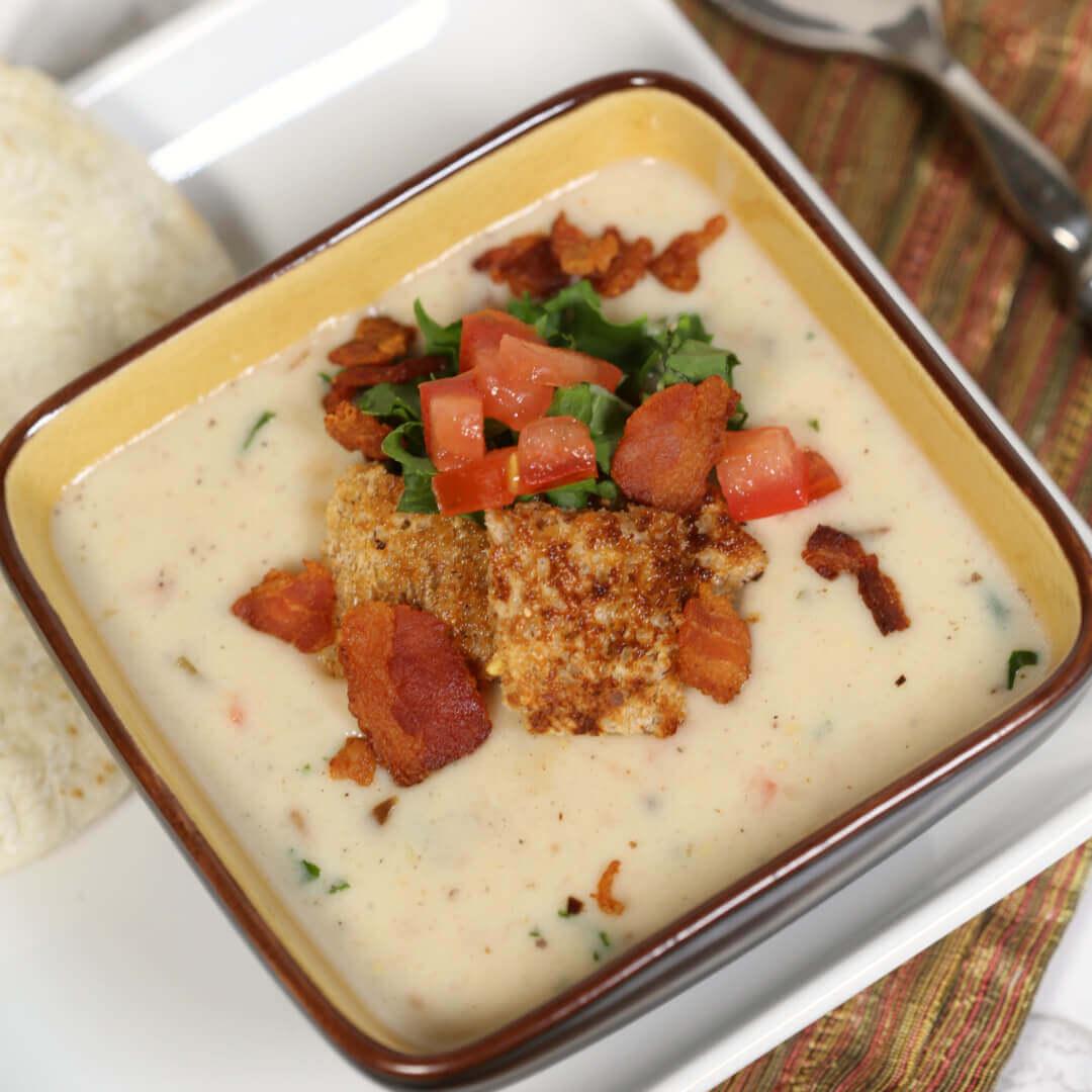 Creamy BLT Soup Recipe in a casserole dish.