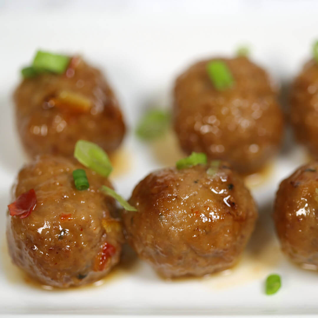Korean Meatballs on a white plate.
