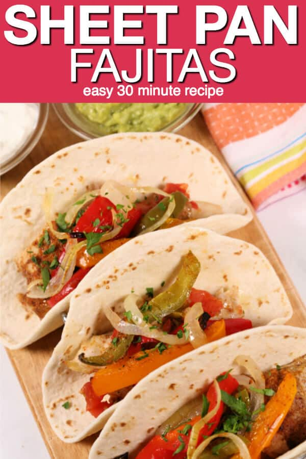 These easy Chicken Fajitas are one of my favorite boneless chicken thighs recipes. They take only 30 minutes and have minimal clean-up because you make them on a single sheet pan. This the perfect recipe for busy nights when every one is on the go. #itisakeeper #recipe #recipes #chicken #sheetpan #onepanrecipe #30minuterecipe #30minute #dinner #mexican #cincodemayo #easyrecipe #quickrecipe