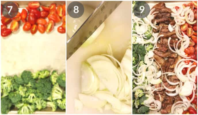 Step by step photos for making this balsamic chicken sheet pan recipe