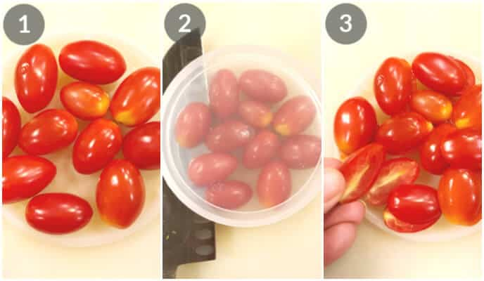 Step by step photos for slicing cherry tomatoes