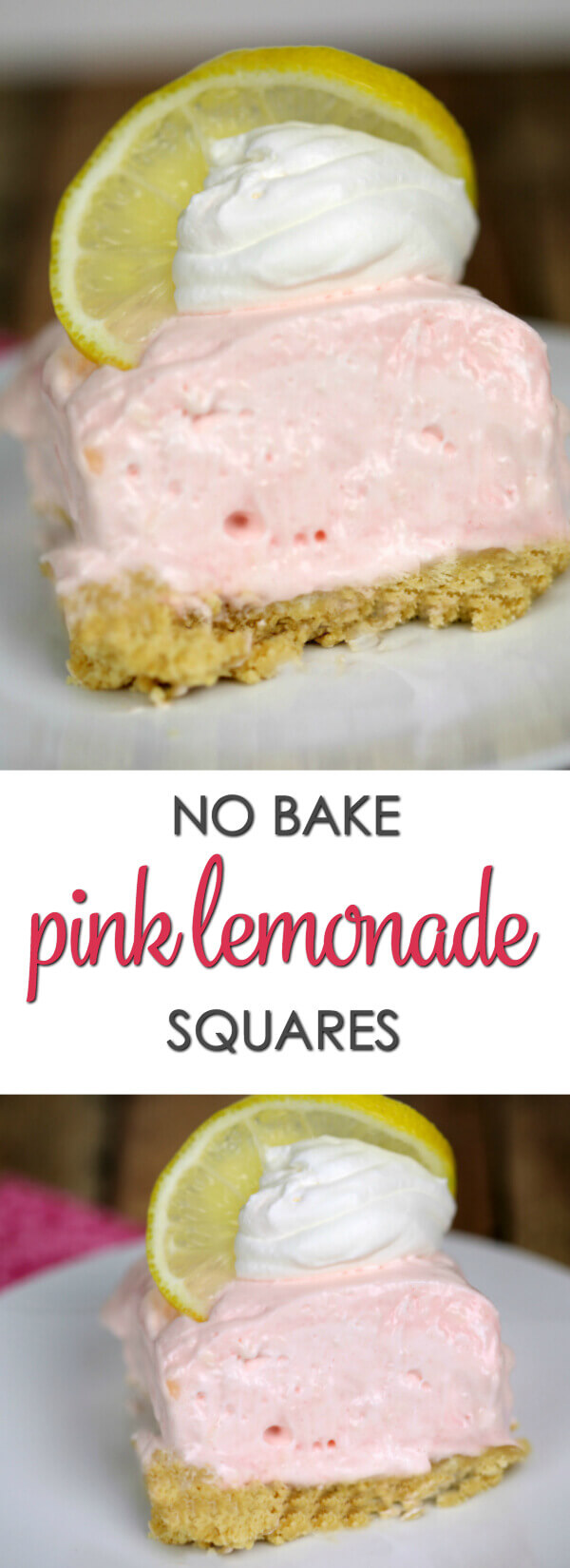 No Bake Pink Lemonade Squares - this is my all time favorite easy lemon dessert recipe