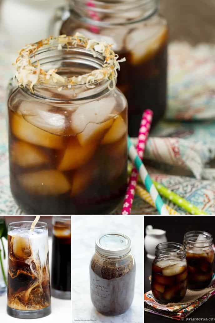 collection of cold brew iced coffee recipe