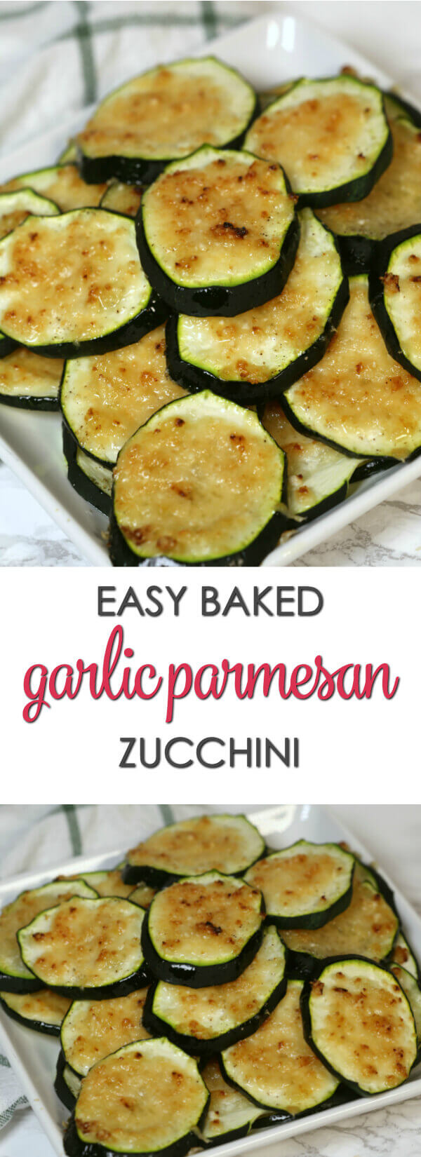 Baked Garlic Parmesan Zucchini - this tasty side dish is my favorite easy zucchini recipe