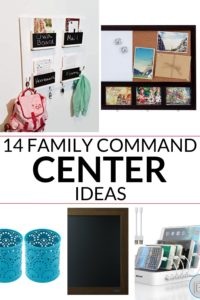Collage of 5 images of recommended command center products listed in the post, with the title of the post in the center