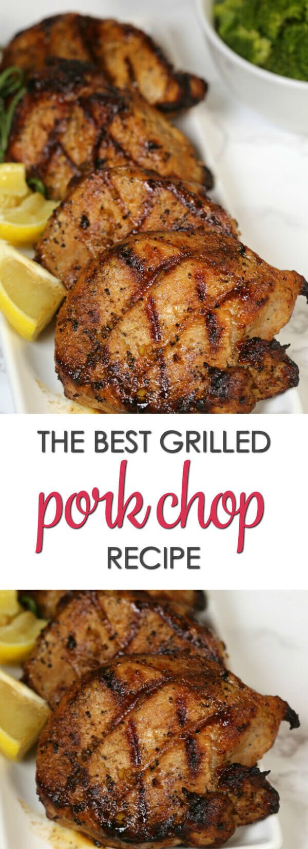 The best grilled pork chop marinade recipe on a white dish.