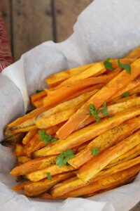 These Sweet Potato Baked Fries are a quick and easy easy side dish that can be made in the oven.