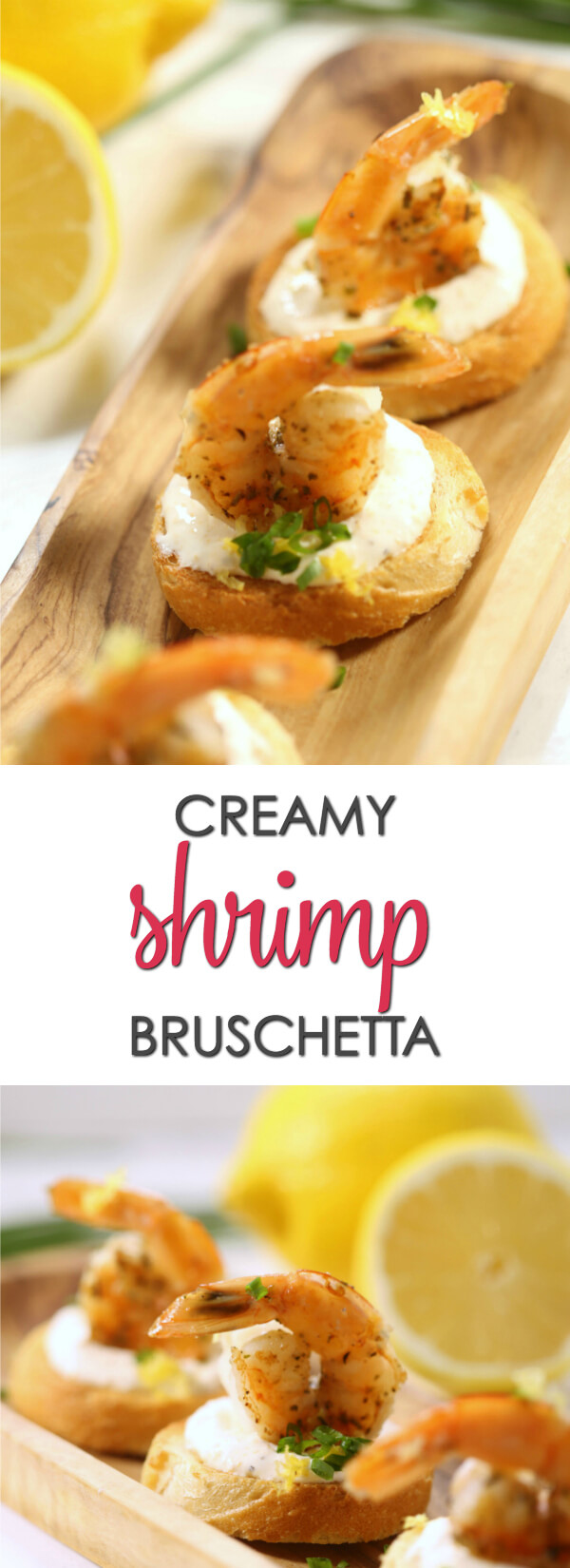 This Creamy Shrimp Bruschetta is one of my favorite easy shrimp appetizers.  It's easy to make but looks so elegant.  Plus, you can serve it hot or cold.