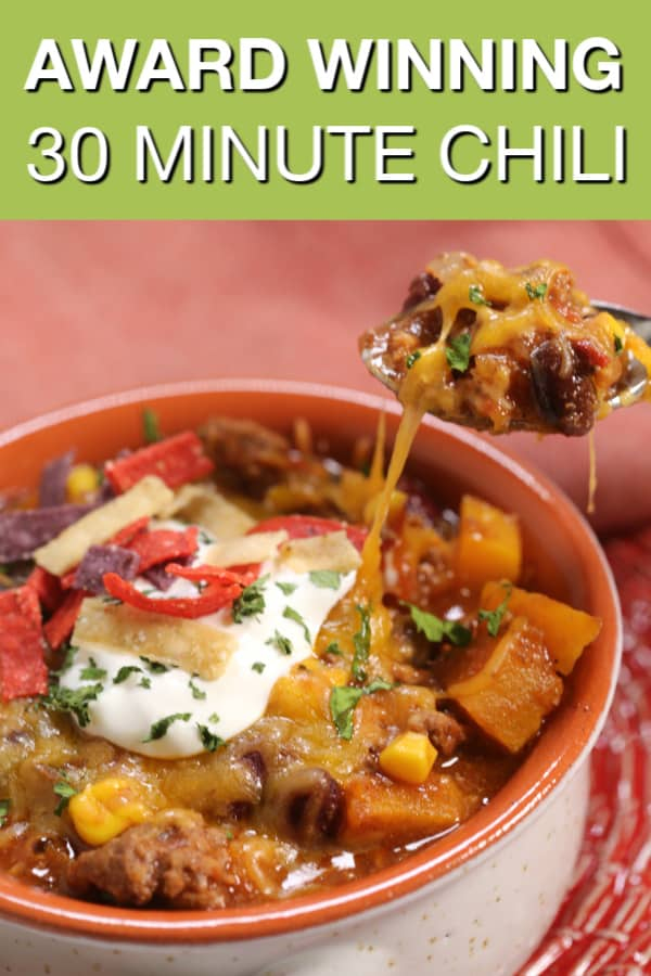 This Award Winning Chili recipe is one of the worlds best chili recipes ever. It's thick, spicy and loaded with hearty goodness. #itisakeeper #recipe #recipes #chili #beef #dutchoven #30minute #dinner #gameday #onepot #easyrecipe #quickrecipe