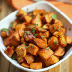 The potatoes are dusted with cinnamon and other spices then coated in a sweet brown sugar mixture and roasted to golden perfection.   This is one of the easiest roasted sweet potato recipes I have ever made.