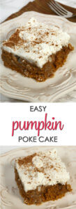 This is one of the best Pumpkin Poke Cake recipes with pockets of sweet, pumpkin spiced glaze that makes the cake super moist.