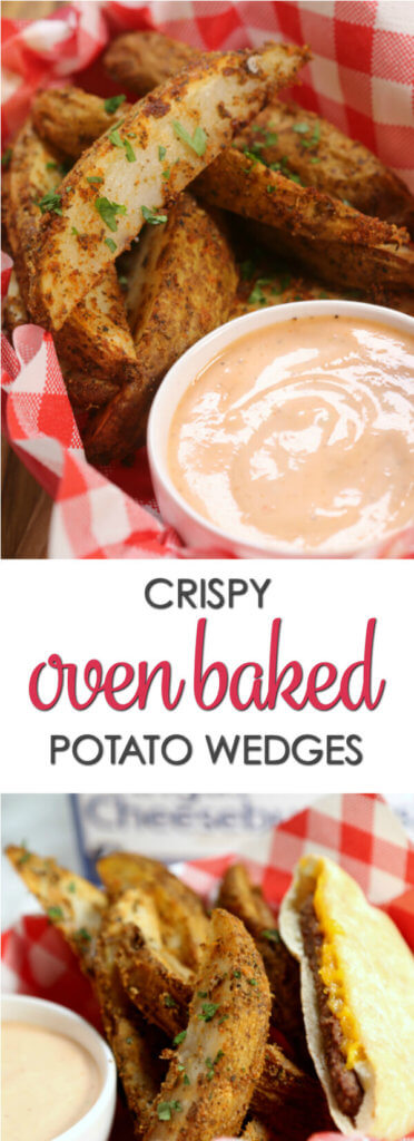 This Crispy Potato Wedges recipe is the perfect companion for burgers!