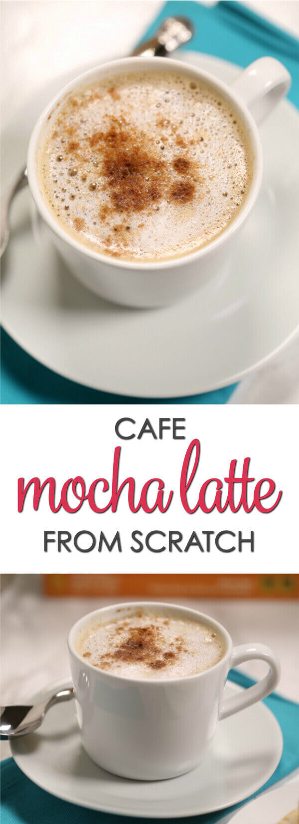This is one of my all-time favorite Mocha Latte recipes with strong coffee, chocolate and steamed milk that is easy to make without any special equipment. #EasyRecipe #Coffee #CoffeeLovers