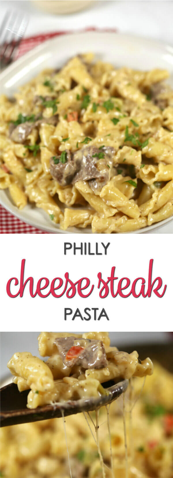 This recipe is a fun twist on the best Philly Cheese Steak recipe.  It's easy to make and incredibly delicious. You have to try this Philly Cheese Steak Pasta.