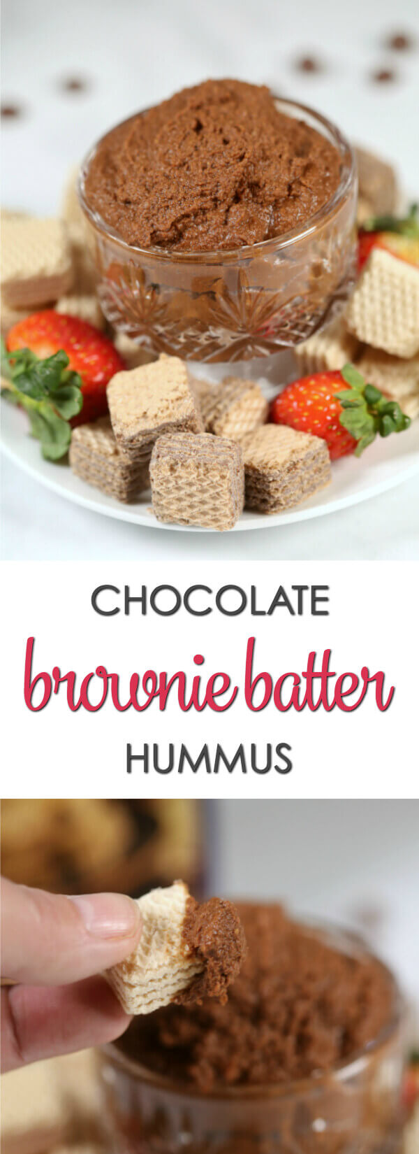 This easy Brownie Batter Hummus recipe is a sweet, chocolate twist on a classic dip.   It takes only 5 minutes to make with a few simple ingredients.  My secret ingredient really kicks up the chocolate flavor!