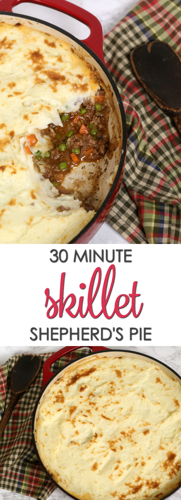 This quick easy Shepherds Pie recipe is one of my favorite easy one pot recipes. It's so tasty and only takes 30 minutes to make. Perfect for busy nights. #Itisakeeper #recipe #onepotrecipe
