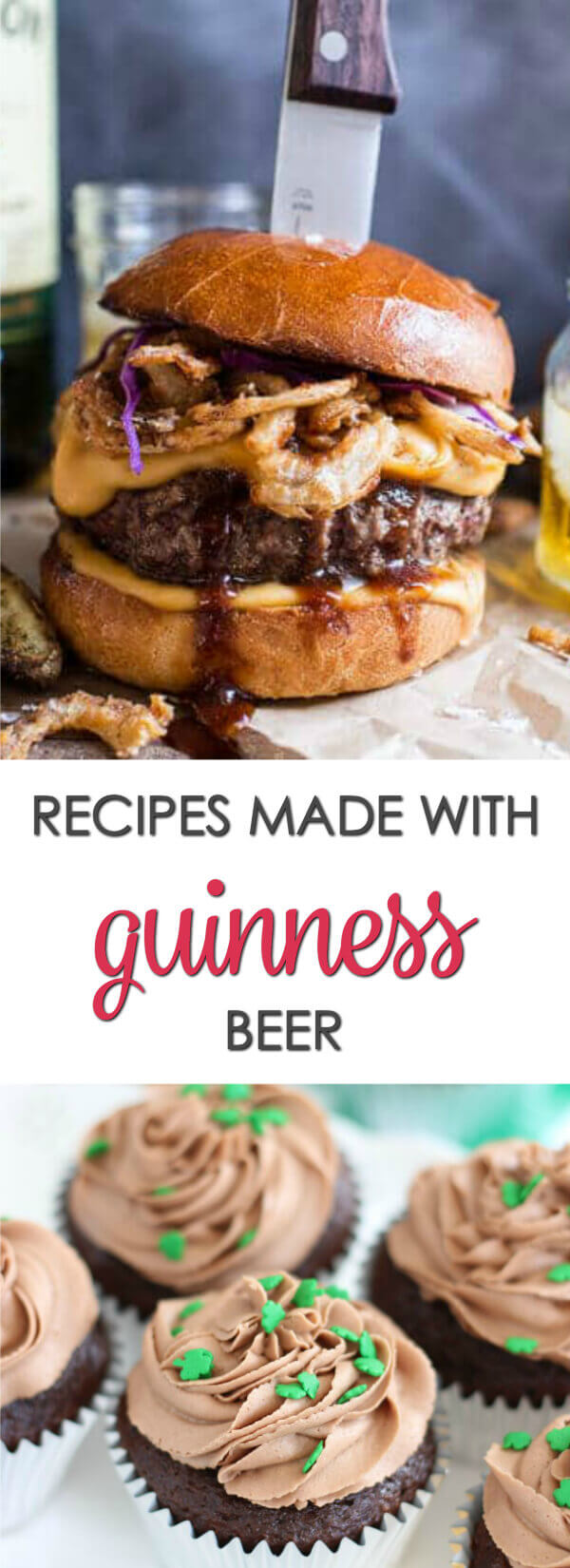 Here are 36 Guinness stout recipes with everything from Guinness Stew to onion rings to Guinness dessert recipes like brownies and chocolate cake. #Itisakeeper #recipes #stpatricksday