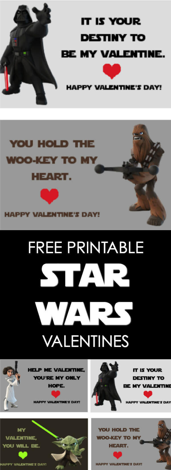 These Star Wars Valentines Printables are sure to be a hit in your kid's classroom this year!  All you need to do is print these free Star Wars Valentines cards, cut them to size and pass them out to your friends.  There are 4 fun designs. #Valentines #StarWars #Printables