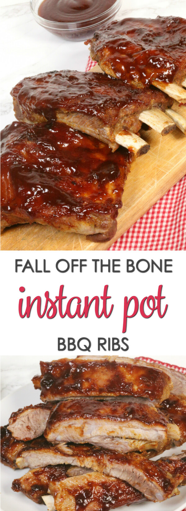 These INSTANT POT BBQ RIBS are easy and tasty! The homemade rub adds so much flavor and the sauce gets sticky and gooey.  You get all of the flavor and tenderness of slow cooked ribs without the time commitment.  www.itisakeeper.com  #itisakeeper #ribs #pressurecooker #instantpot #bbq #easyrecipe #semihomemade #recipe
