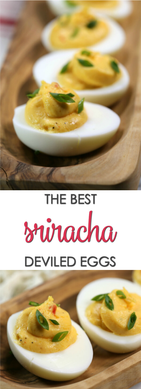 Wondering how to make deviled eggs recipe? This spicy, Sriracha version is loaded with spicy, garlic flavor with just a hint of sweetness. It's a delicious twist on my classic deviled egg recipe. This easy recipe has the perfect balance of heat, sweetness and creaminess.  Find more deviled egg recipes on www.itisakeeper.com  #itisakeeper #recipe #quickrecipe #easyrecipe #eggs #deviledeggs #easter #sriracha