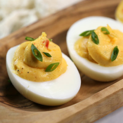 Spicy Sriracha Deviled Eggs