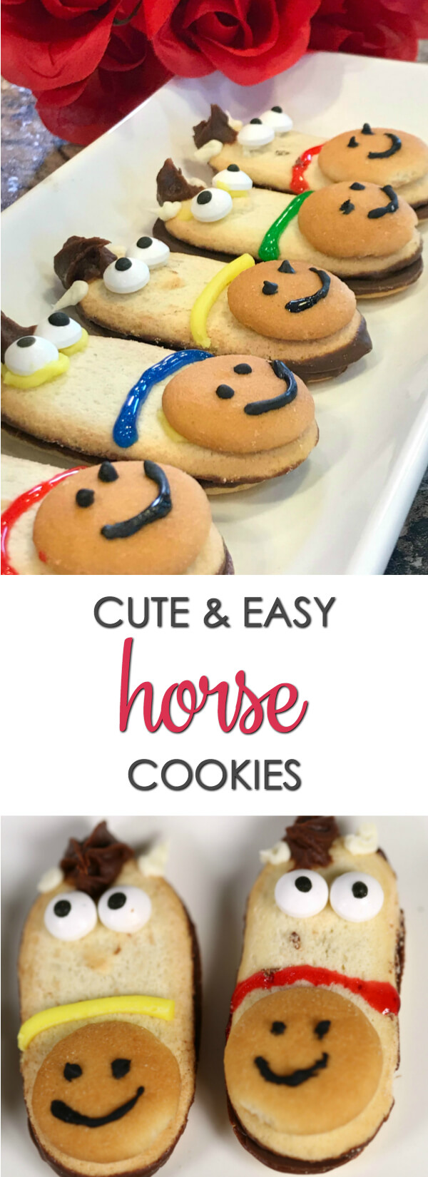 These adorable cookies are easy to make and one of my favorite horse party ideas! If you're planning a horse-themed party, you must make this adorable (and easy) horse cookie recipes. It's one of my favorite horse party ideas! These cute cookies come together quickly and are super adorable. They're perfect if you need Kentucky Derby party recipes, too.   www.itisakeeper.com  #KentuckyDerby #Horses #Cookies #recipes #SemiHomemade #EasyRecipe #Dessert #ItIsaKeeper #Horseparty