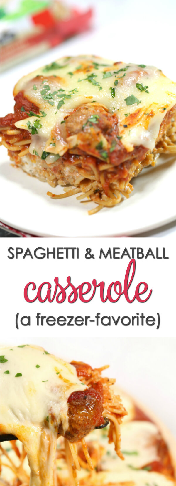 This freezer friendly baked Spaghetti Casserole with meatballs is a delicious freezer friendly recipe the whole family loves.  It's quick and easy to make and can be easily halved or doubled based on your family size.  #recipe #itisakeeper #casserole #freezermeal #freezerfriendly #makeahead #pasta #meatballs #easyrecipe #kidfriendly