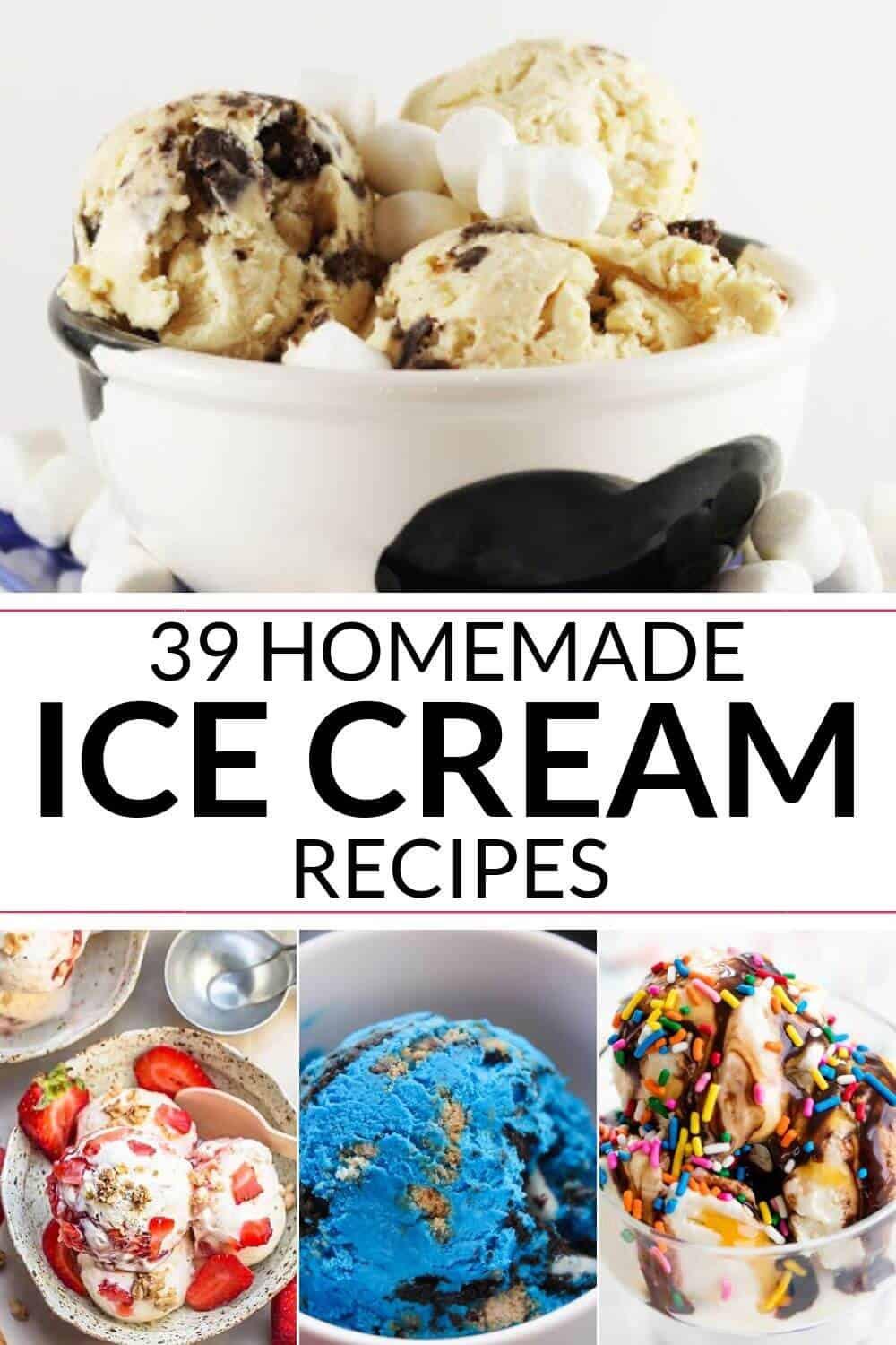 Collection of homemade ice cream