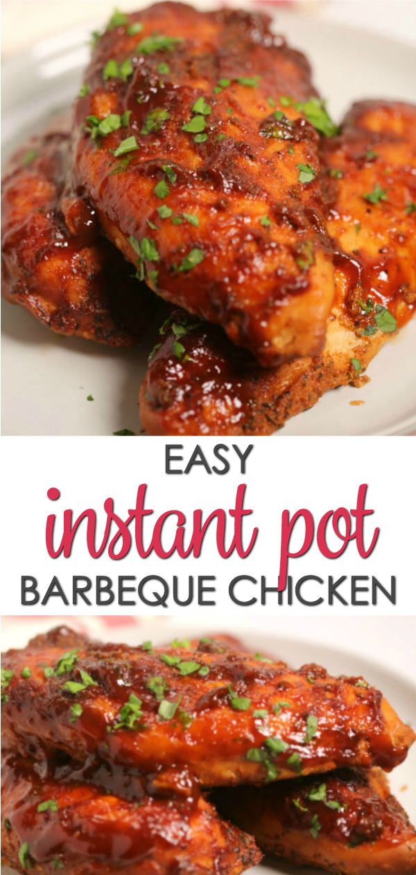 This Instant Pot Barbecue Chicken is the easiest barbecue recipe! In less than 30 minutes the chicken cooks down easy and quick in the pressure cooker, coming out juicy, delicious and smothered in a savory barbecue sauce! #itisakeeper #recipe #easyrecipe #instantpot #pressurecooker #quickdinner #chicken #bbq #barbecue #30minuteRecipe #easydinner
