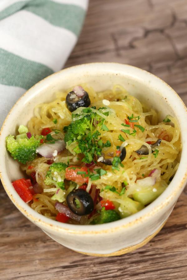 Spaghetti Squash Salad in a bowl.
