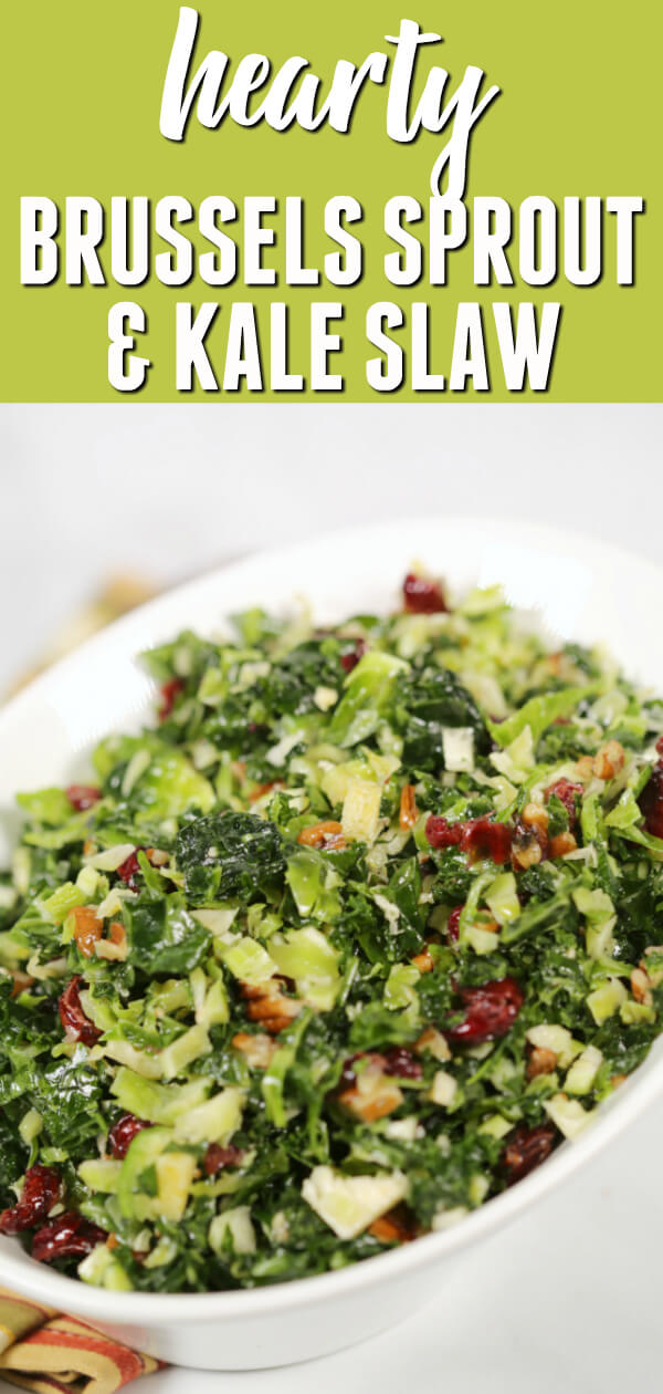 Kale Brussel Sprouts Salad makes a wonderful addition to any meal. It is a healthy, delicious combination of flavors that is completely irresistible. #itisakeeper #recipe #recipes #easyrecipe #quickrecipe #sidedish #summer #kale #brusselssprouts #healthy #healthyrecipe #slaw #picnic #barbecue