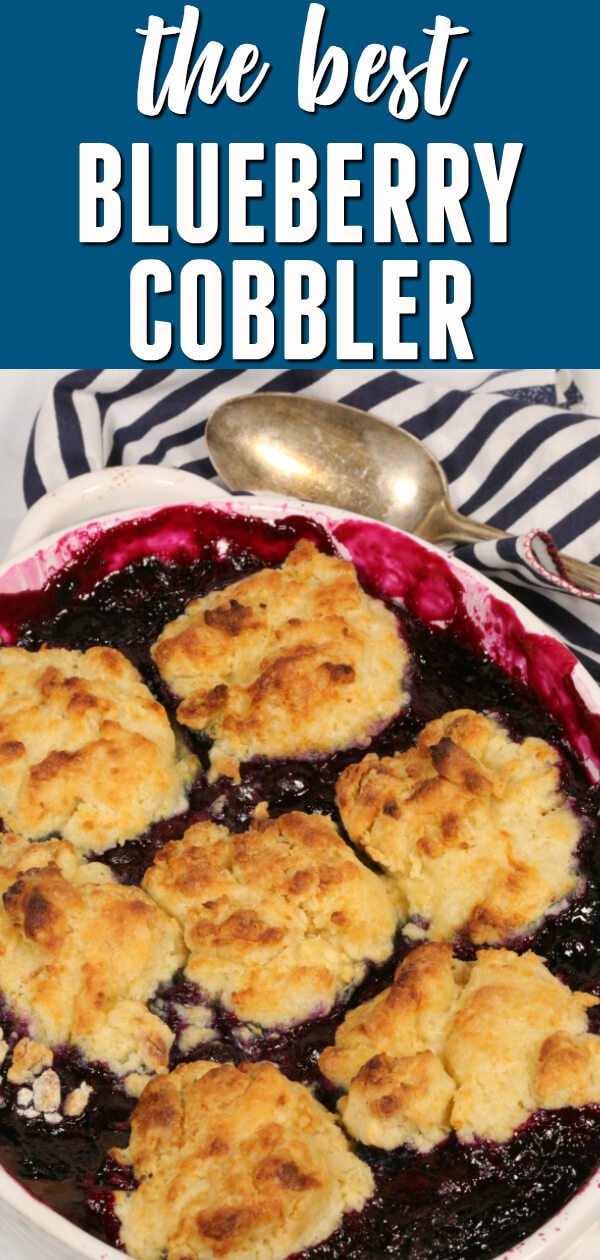 Easy Blueberry Cobbler is sweet, fresh, and totally delicious. I love that you can make it with fresh or frozen berries. #itisakeeper #recipe #recipes #easyrecipe #quickrecipe #dessert #easydessert #cobbler #blueberry #blueberries #summer